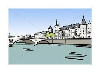 Illustration of the Palais de la Cite in Paris  France