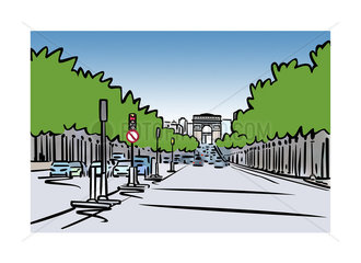 Illustration of Avenue des Champs-Élysées in Paris  France