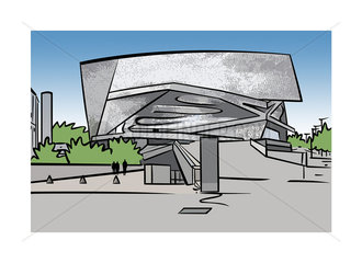 Illustration of the Philharmonie de Paris in Paris  France