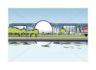 Illustration of Cité des Sciences et de l'Industrie in Paris  France