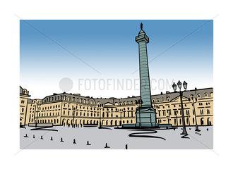 Illustration of Place Vendome in Paris  France