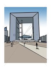 Illustration of La Grande Arche de la Défense in Paris  France