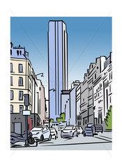Illustration of Tour Montparnasse in Paris  France