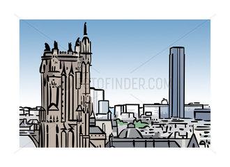 Illustration of Tour Saint-Jacques and Tour Montparnasse in Paris  France