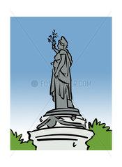 Illustration of the monument at Place de la République in Paris  France