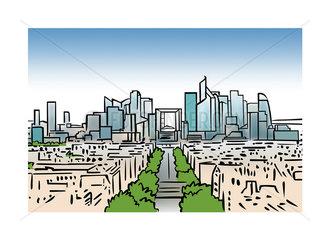 Illustration of the skyline of La Defense in Paris  France