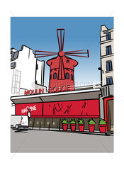Illustration of the Moulin Rouge in Paris  France