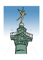 Illustration of the Génie de la Liberté statue atop the Colonne de Juillet  Place de la Bastille  Paris  France