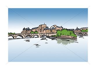Illustration of Ile Saint-Louis  Paris  France