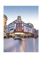 Illustration of Le Grand Rex cinema in Paris  France