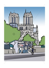 Illustration of a book stall and the Notre-Dame Cathedral in Paris  France