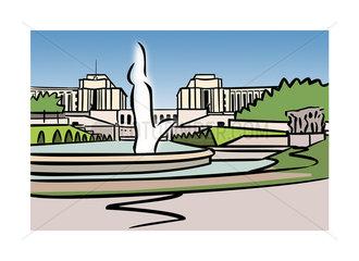 Illustration of Varsovie Fountain  Trocadero  Paris  France