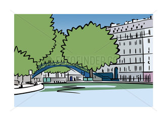 Illustration of Canal Saint-Martin in Paris  France