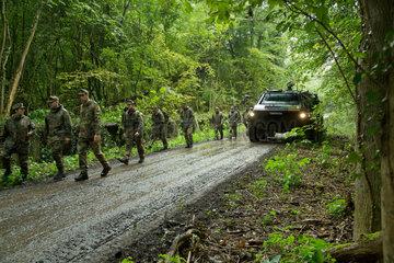 Illkirch-Grafenstaden  Frankreich  Soldaten des JgBtl 291 bei einer Uebungseinheit im Wald