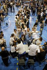 Girona  Katalonien  Spanien - Wahllokal beim Referendum fuer Unabhaengigkeit