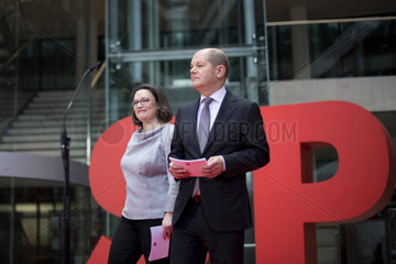 Nahles  Scholz  SPD Presents Government Cabinet Members