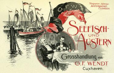 Werbung fuer Seefisch und Austern Grosshandel  1899