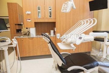 Examination room in modern dental clinic; Edmonton  Alberta  Canada