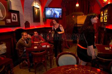 Lemberg  Ukraine  das Masoch Cafe ist eine Attraktion des Nachtlebens