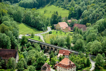 Rothenburg ob der Tauber  Deutschland  Blick vom Rathausturm ins Tal der Tauber