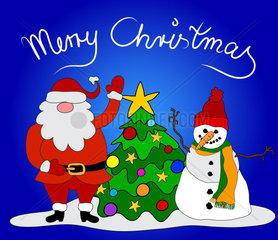 Weihnachtskarte Santa Schneemann