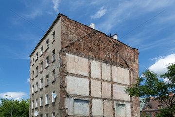 Breslau  Polen  Haus mit Silhouette eines nicht mehr existierenden Nachbarhauses