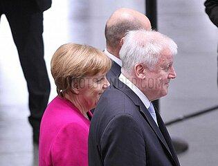 Merkel  Scholz und Seehofer