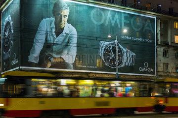 Warschau  Polen  Werbung fuer die Uhrenmarke Omega