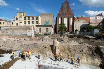 Breslau  Polen  Bau einer Tiefgarage fuer einen Buerokomplex
