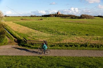 Neuwerk  Deutschland  Landschaft mit dem alten Leuchtturm Neuwerk