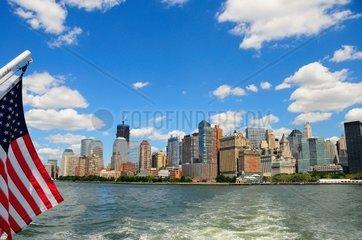 USA  New York City  Skyline and American Flag