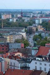 Breslau  Polen  Wohngebiete in der Abenddaemmerung