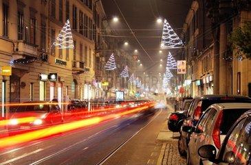 Italy  Lombardy  Milan  Via San Gottardo with Christmas lights