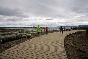Tourists at Pingvellir (Thingvellir) National Park  Iceland