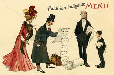 Ueberhoehte Restaurantrechnung  Karikatur  1913