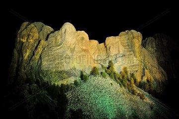 USA  South Dakota  Black Hills  Mount Rushmore at Night