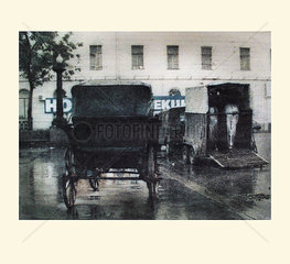 Kutsche und Pferdetransporter