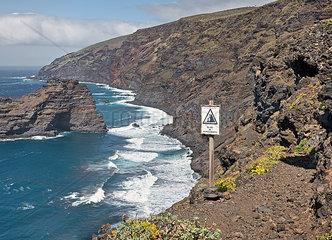 Gefaehrlicher Wanderweg auf La Palma