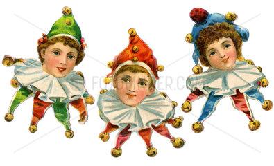 drei Kinder als Harlekin  1900