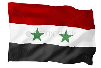 Fahne von Syrien (Motiv B; mit natuerlichem Faltenwurf und realistischer Stoffstruktur)