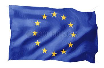 Fahne von Europa (Motiv A; mit natuerlichem Faltenwurf und realistischer Stoffstruktur)