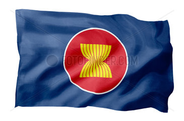 Fahne der ASEAN (Motiv A; mit natuerlichem Faltenwurf und realistischer Stoffstruktur)