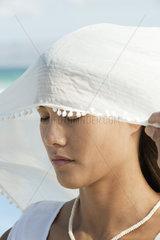 Woman wearing veil  eyes closed  portrait
