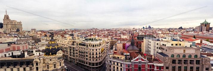 Madrid  Spanien  Panorama der Gran Via in Madrid