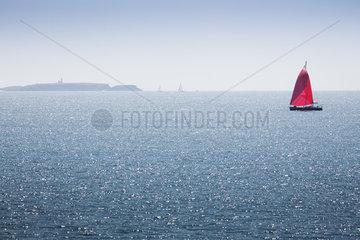 Sailboat off the coast of Belle-Ile-en-Mer  Morbihan  Brittany  France