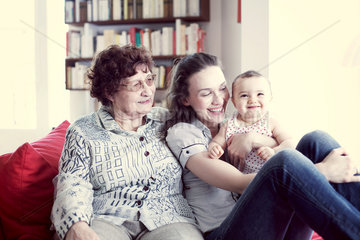Grandmother  mother and baby girl  portrait