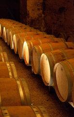 Saint-Emilion  Frankreich  Weinfaesser in einem Keller