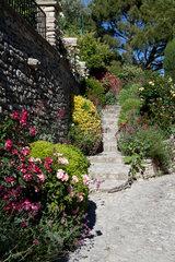 Bonnieux  Frankreich  mit Blumen bewachsene Treppe in der Altstadt