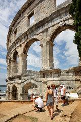 Pola  Kroatien  Detailaufnahme im Amphitheater in Pula