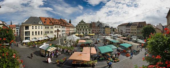 Weimar  Deutschland  180-Grad-Panoramablick ueber den historischen Marktplatz